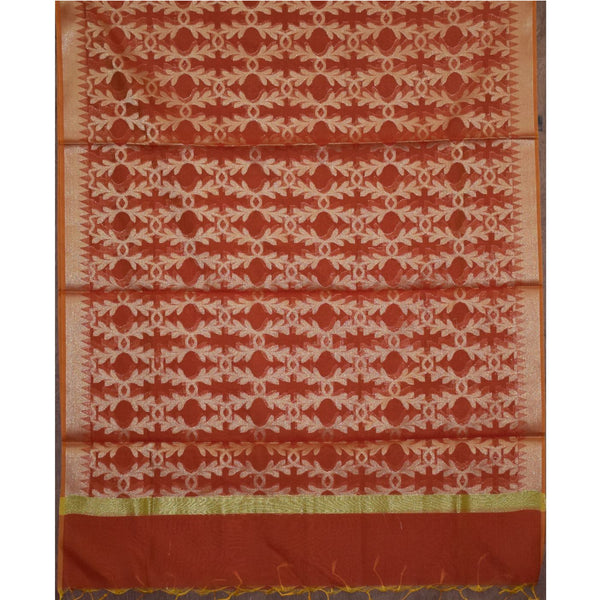 Small Butti Design Orange with Golden Handloom Banarasi Cotton Silk Dupatta of Uttar Pradesh  AJODI000689