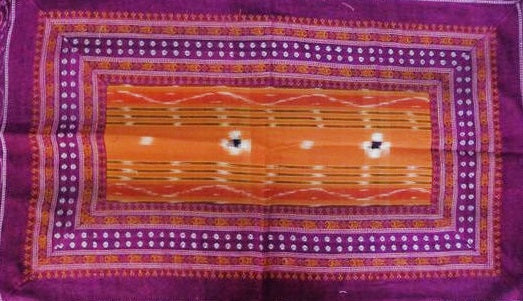 New Design Violet with Orange Handloom Cotton Pillow Cover Set of Odisha  AJODI000702