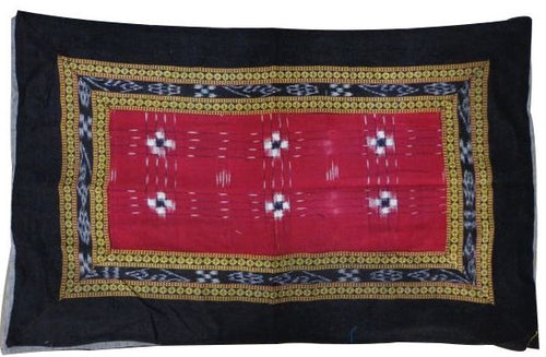 Sambalpuri Design Black with Red Handloom Cotton Pillow Cover of Odisha sambalpur  AJODI000704