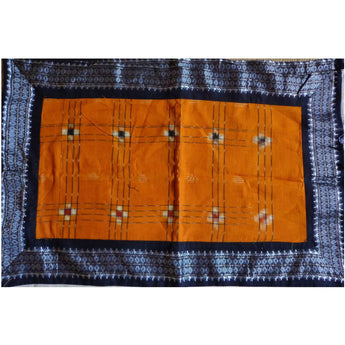 Sambalpuri Design Orange with Black Handloom Cotton Pillow Cover of Odisha Sambalpur  AJODI000707