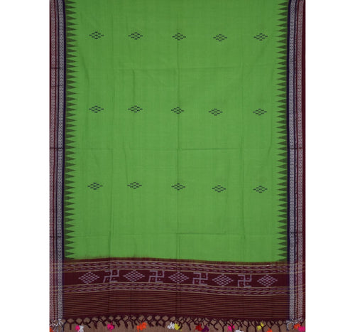 Temple Design Green with Maroon Handloom Cotton Stole of Odisha  AJODI000709