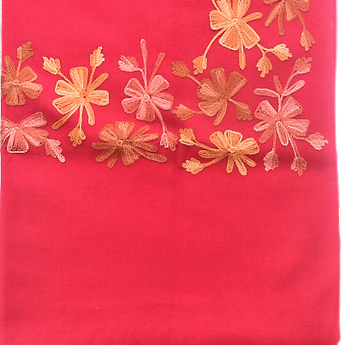 Flower Design Red Handloom Wool Stole of Manipur  AJODI000714
