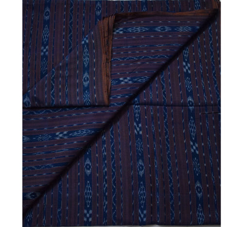Blue Shining Ikat Handloom Cotton Running Material of Odisha  AJODI000726