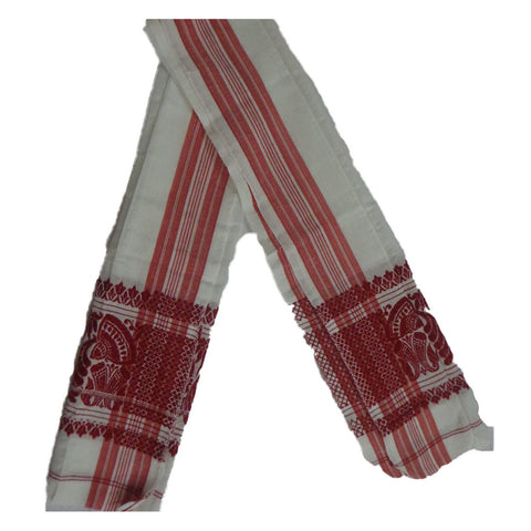 White with Red Handloom Gamcha of Assam  AJODI000734