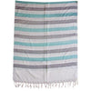White with Light Green Handloom Silk Stole of Uttar Pradesh  AJODI000737