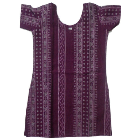 Deep Magenta Ikat Handloom Cotton Kurti for Girls of Odisha  AJODI000743