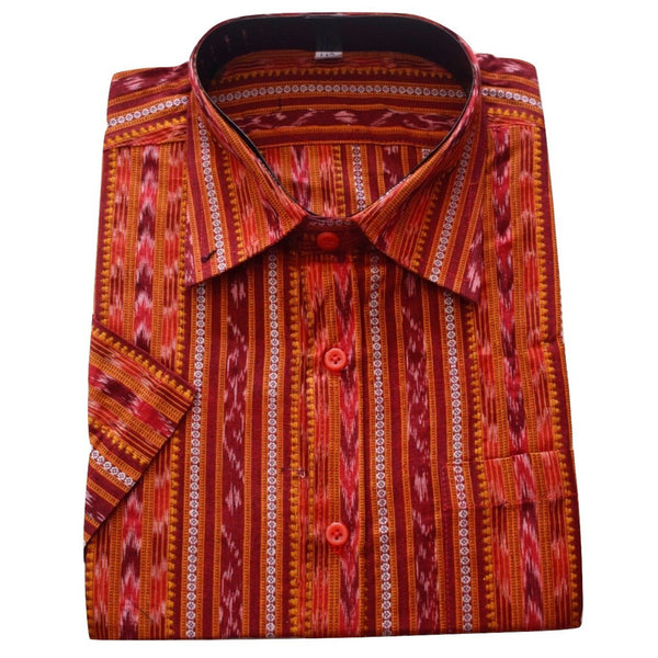 Deep Brown Ikat Handloom Readymade Cotton Shirts for Men of Odisha   AJODI000766  (Size - 42 )