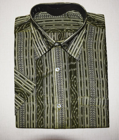 Olive Green Ikat Handloom Cotton Shirts for Men of Odisha  AJODI000776 (Size-40)