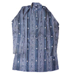 Kid's Flower Motif's Design Deep Blue Handloom Kurta for Small Boys of Odisha  AJODI000803