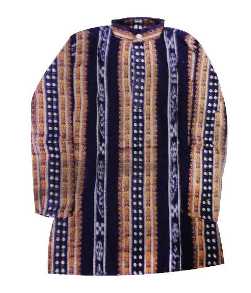 Buti Motif's Design Navy Blue Ikat Handloom Cotton Kurta of Odisha  AJODI000816