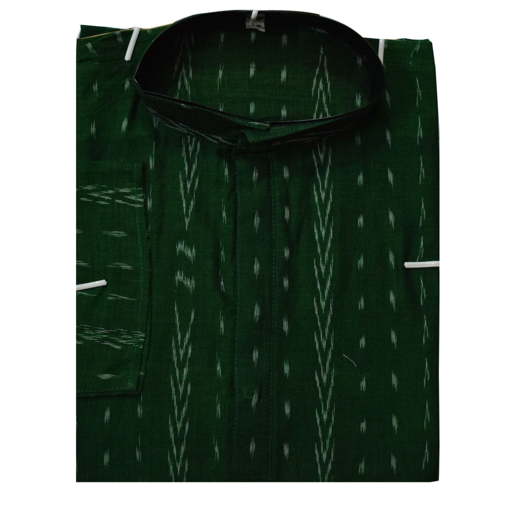 Green Ikat Handloom Cotton Kurta of Odisha AJODI000844