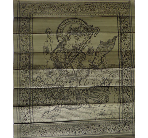 Handmade Maa Saraswati Handicraft Patchitra Palm Leaf Engraving Made in Odisha Raghurajpur  AJODI000862