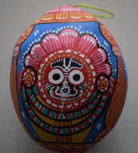 Handmade Lord Jagannath Design Handicraft Patachitra Painting's on Coconut Shell of Odisha  AJODI000935
