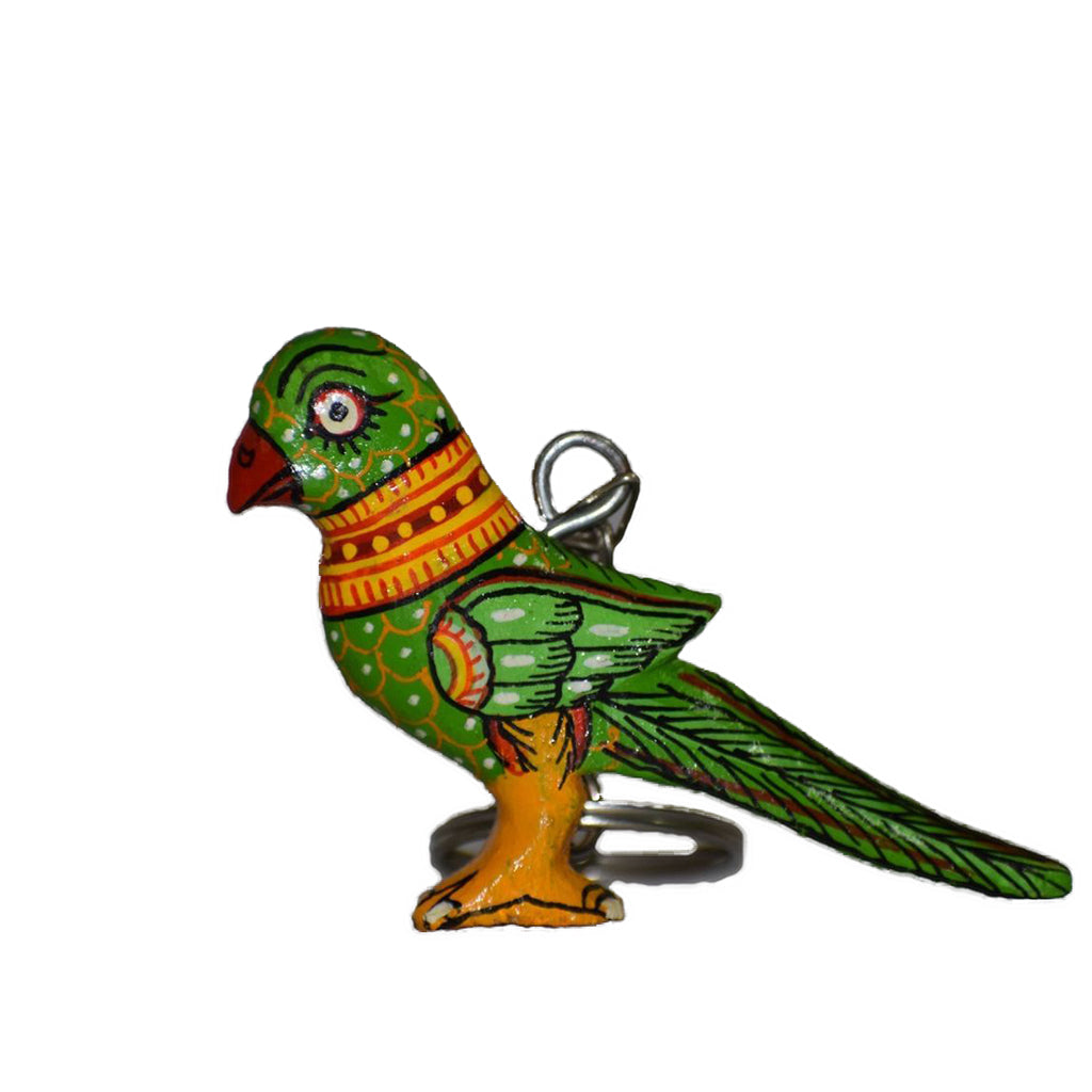 Handmade Parrot Design Key Chain Wooden Handicraft of Odisha  AJODI000938