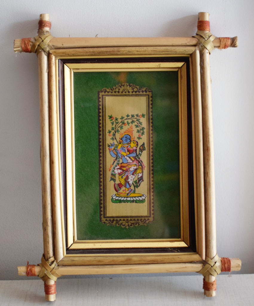 Handmade Lord Krishna and Radha Handicraft Patachitra Painting with photo frames of Odisha Raghurajpur  AJODI000953