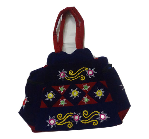 Handmade Pipili Applique Handicraft Design Blue Handbag of Odisha Puri AJODI000969