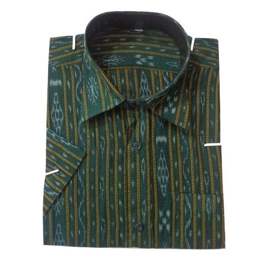 Handloom Ikat Green Sambalpur casual Half Shirts made in Odisha Sambalpur  AJODI000978