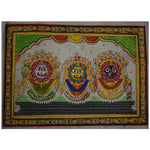 Handpainted Lord Jagannath, Balabhadra And Goddess Shubhadra Sunabesha Patachitra Painting made in Odisha Ragurajpur Puri  AJODI001062