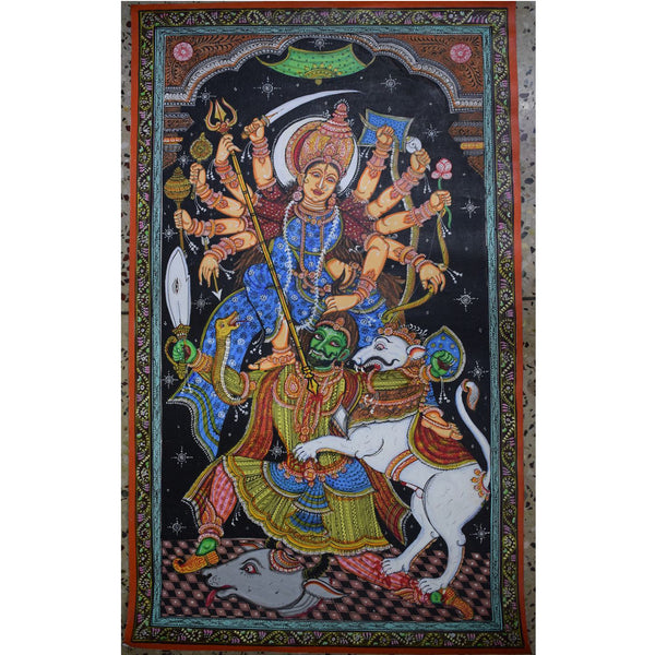 Handpainted Goddess Durga Patachitra Painting made in Odisha Raghurajpur AJODI001066