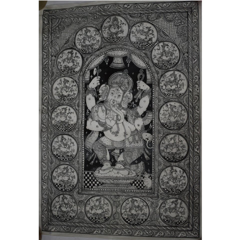 HandPainted Standing Lord Ganesh patachitra Painting Art made in odisha Raghurajpur AJODI001069