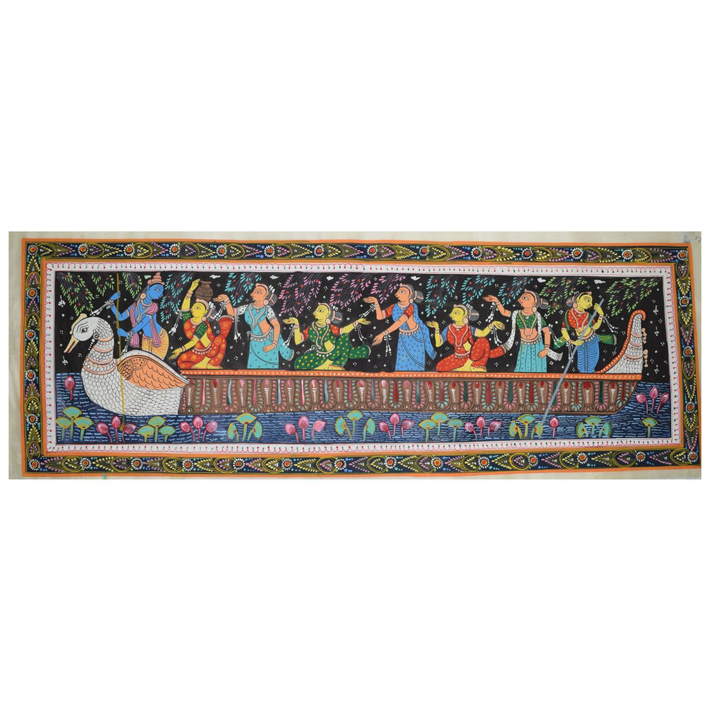 Handmade Tusser Silk Handicraft Patachitra Painting Of Lord Krishna Rasaleela made in odisha Raghurajpur AJODI001074
