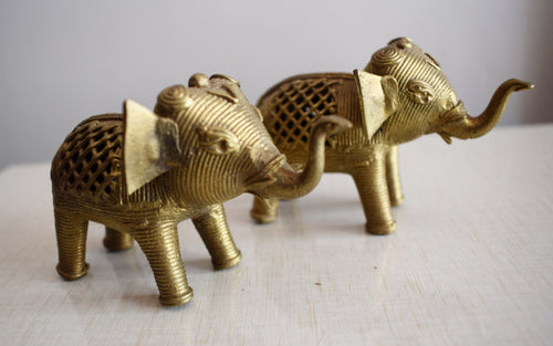 Handmade Brass Metal Dhokra Handicraft Elephant made in Odisha Dhenkanal  AJODI001092