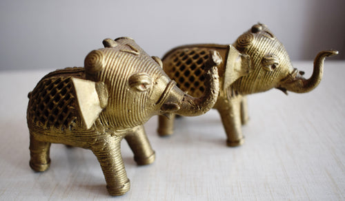 Handmade Small Size Brass Metal Dhokra Handicraft Elephant Made in Odisha Dhenkanal AJODI001115