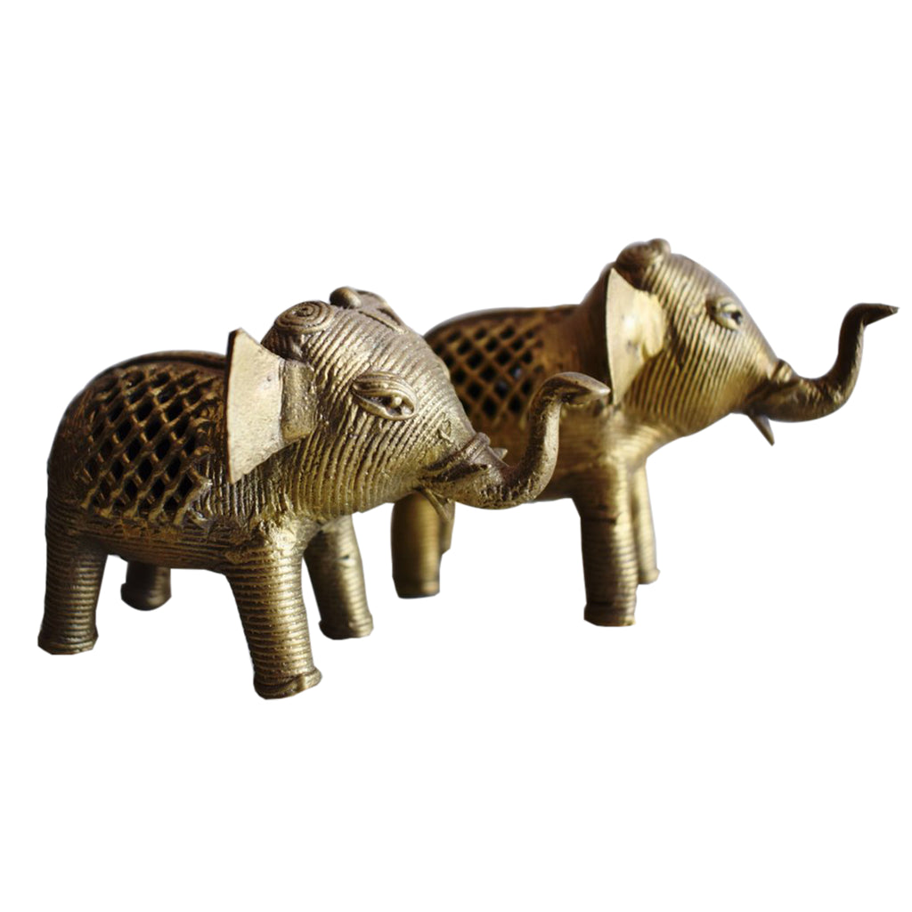 Handmade Small Size Brass Metal Dhokra Handicraft Elephant made in Odisha Dhenkanal AJODI001116