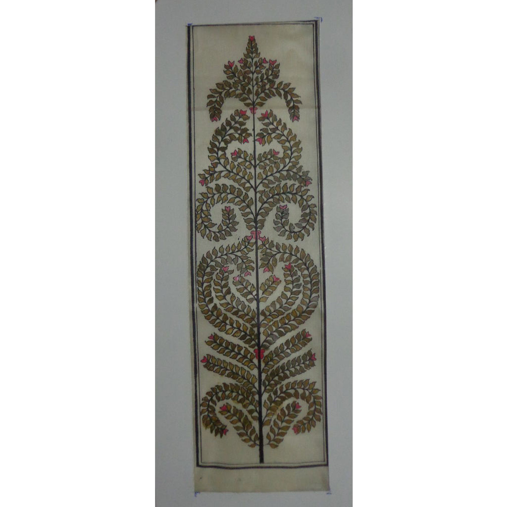 Tree Design Handmade Art Silk Patachitra Painting Handicraft of Odisha Raghurajpur AJODI001131