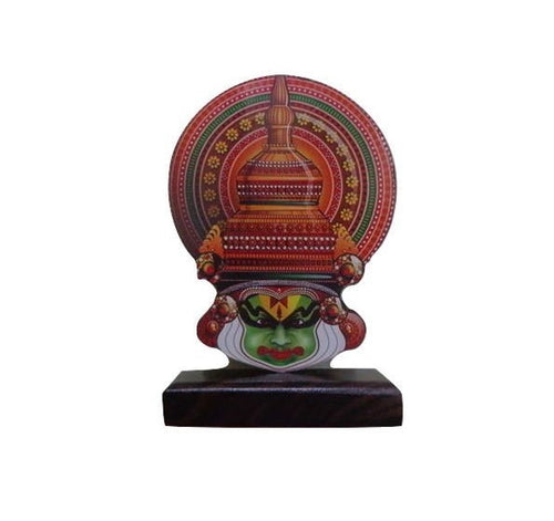 Handicraft Wooden Printed Traditional Kathakali Face of Kerala AJODI001134