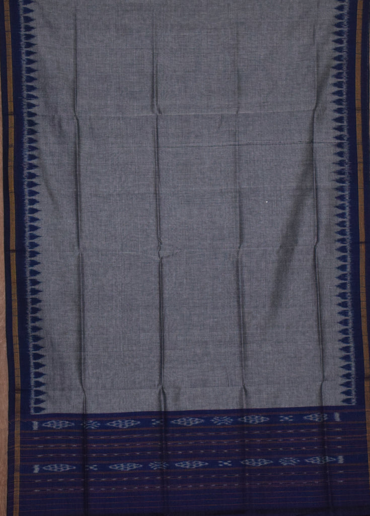 Bandha Design Deep Blue with Grey Handloom cotton Ladies Dress Material of Odisha Nuapatna  AJODI001148