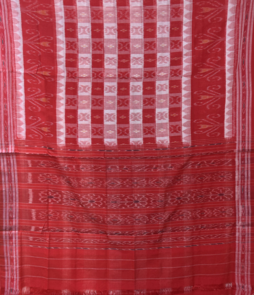 Red With White Box Design Handloom Cotton saree of Odisha Nuapatna AJODI001159