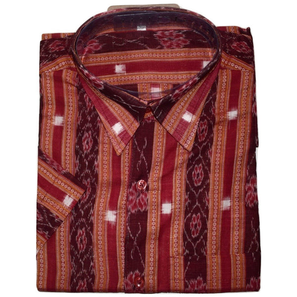 Maroon Handloom Sambalpuri Handloom cotton Half Shirt for Men made in Odisha Sambalpur AJODI001185  (Size-40)