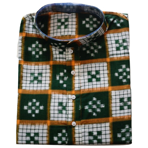 Green with White Handloom Sambalpuri Pasapalli Handloom cotton Kurta for Men made in Odisha Sambalpur AJODI001196  (Size-40)