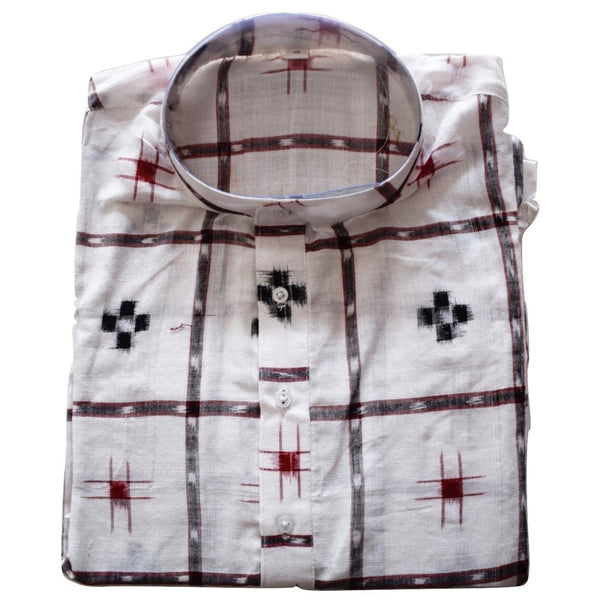 White Handloom Sambalpuri Pasapalli Handloom cotton Kurta for Men made in Odisha Sambalpur AJODI001201  (Size-42)