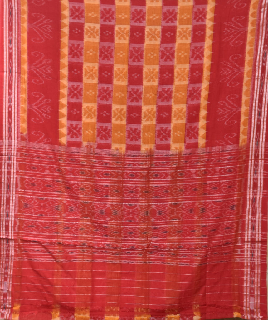 Orange with Red Handloom Ikat cotton Saree made in Odisha Nuapatna AJODI001212