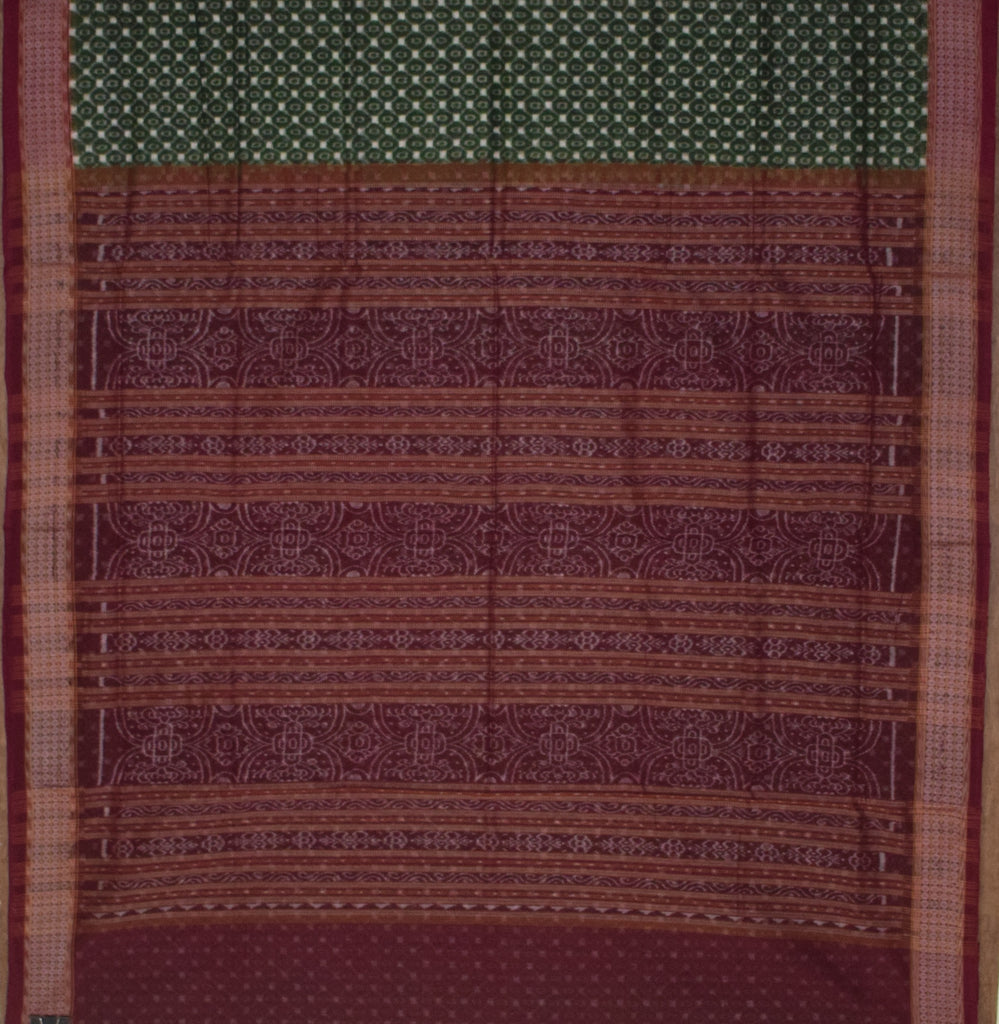 Green with Maroon Handloom Bomkai cotton saree made in Odisha Sonepur AJODI001213