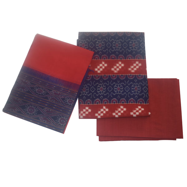 Navy Blue with Red Pasapalli Ikat Design Handloom Sambalpuri Cotton Ladies Dress Material made in Odisha Sonepur AJODI001235