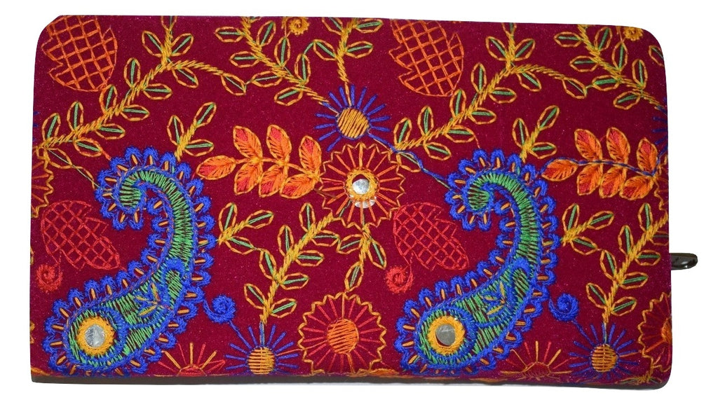 Embroidery Design With Mirror Work Handmade Purse AJODI001247
