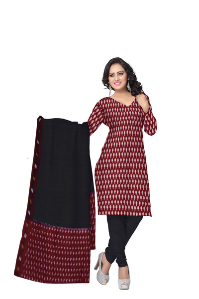 Unstitched Women's Handloom Red with Black Ponchampally Ladies cotton Dress Material with Dupatta Of Telangana AJODI001329