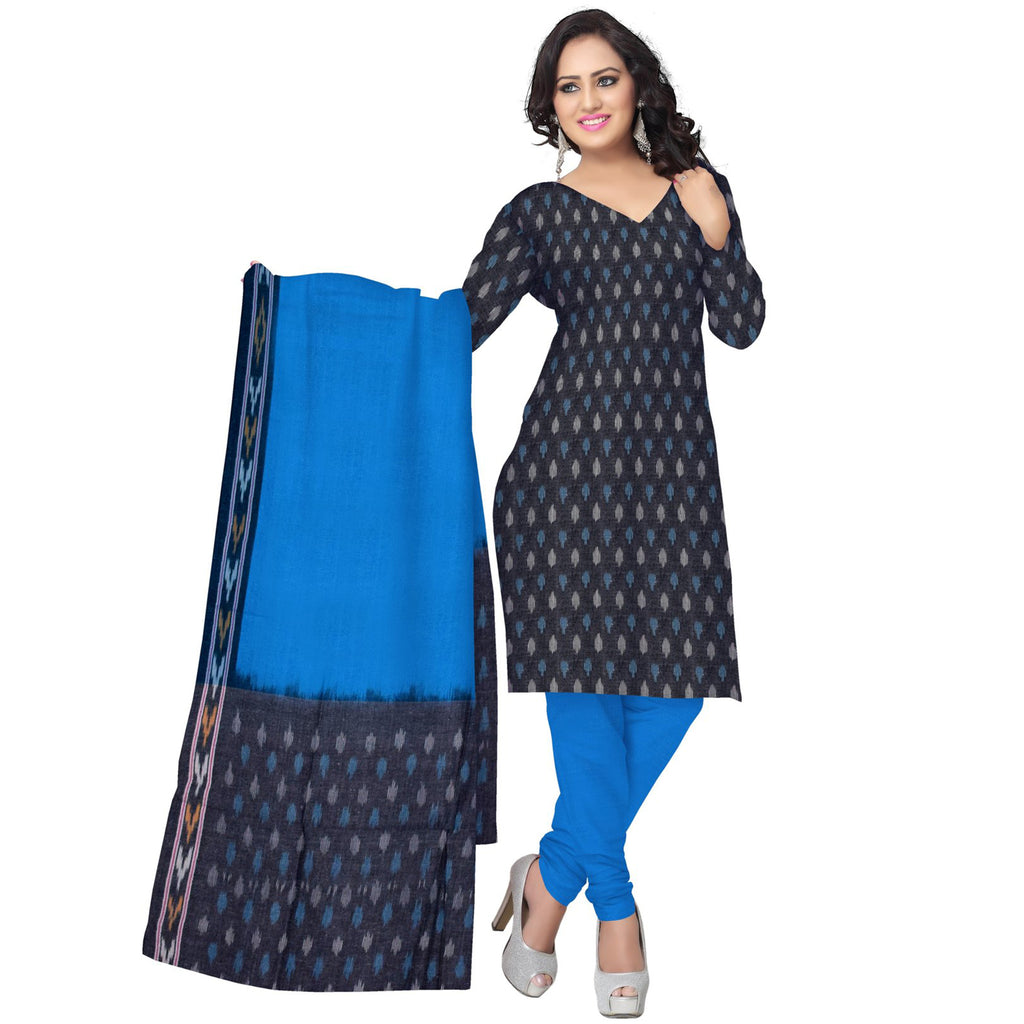 07b02bbce Unstitched Women's Handloom Grey with Sky Blue Ponchampally Ladies cotton  Dress Material with Dupatta Of Telangana