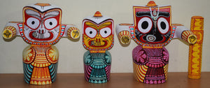 Neem Wooden Handicraft of Lord Jagannath, Lord Balabhdra and Maa Suvadra Of Odisha AJODI001392