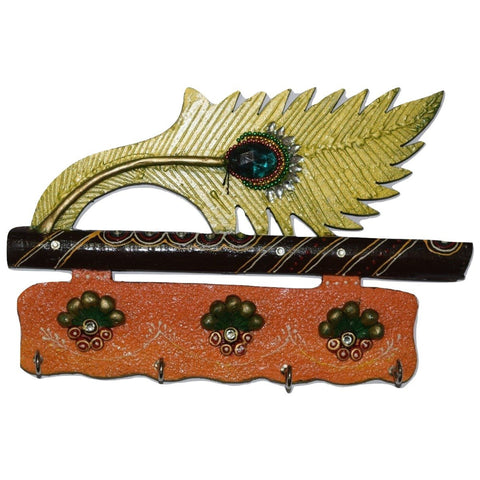 Jaipur Handmade Crafts Beautiful Mor. Pankhi Wooden Key Holder ( 4 Hooks) AJODI001411