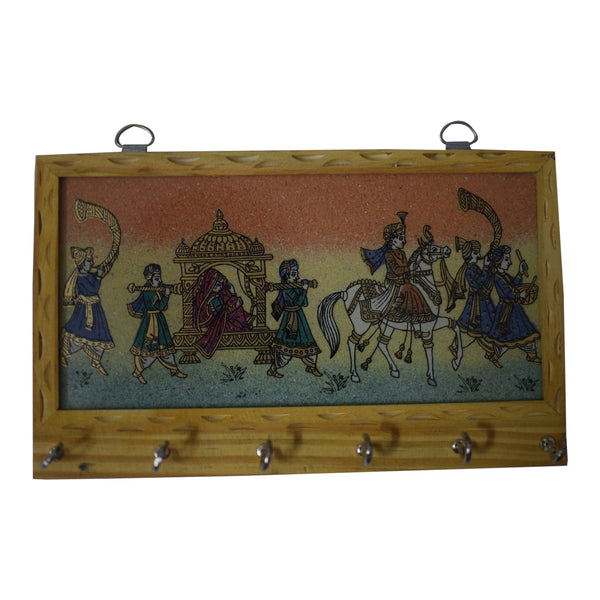 Handcrafted Gemstone Painting Wooden Key Holder Hanger AJODI001412
