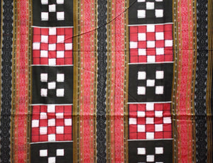 Bichitrapuri Red With Black Handloom Cotton Running Material of Odisha AJODI001481
