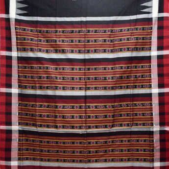 Black With Deep Red Handloom Sambalpuri Cotton Saree Of Odisha AJODI001490