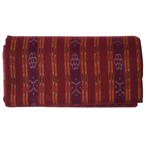 Deep Maroon Colour Handloom Body Bandha Cotton Saree Of Sambalpur Odisha AJODI001505