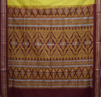 Light Green With Maroon Handloom Padam Cotton Saree Of Odisha Sambalpur AJODI001519