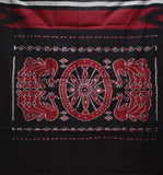 Kargil Design Brownish Red With Black Handloom Cotton Saree of Odisha, Nuapatana AJODI001558