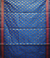 French Blue With Golden Handloom Buti Design Banaras cotton Silk Saree of Uttar Pradesh AJODI001587
